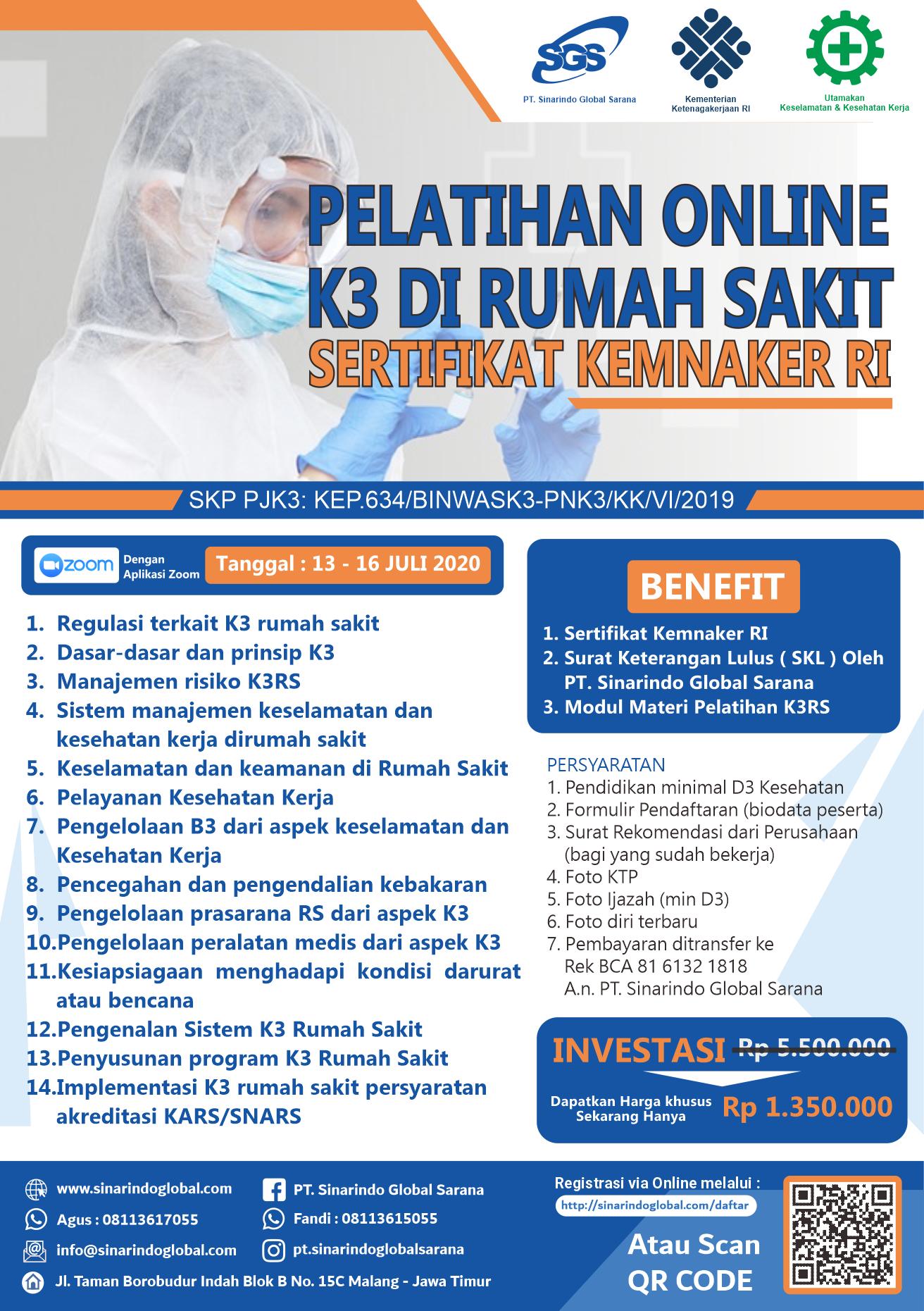 Pelatihan Online K3 di Rumah Sakit Sertifikat Kemnaker RI ( 13 - 16 Juli 2020 )