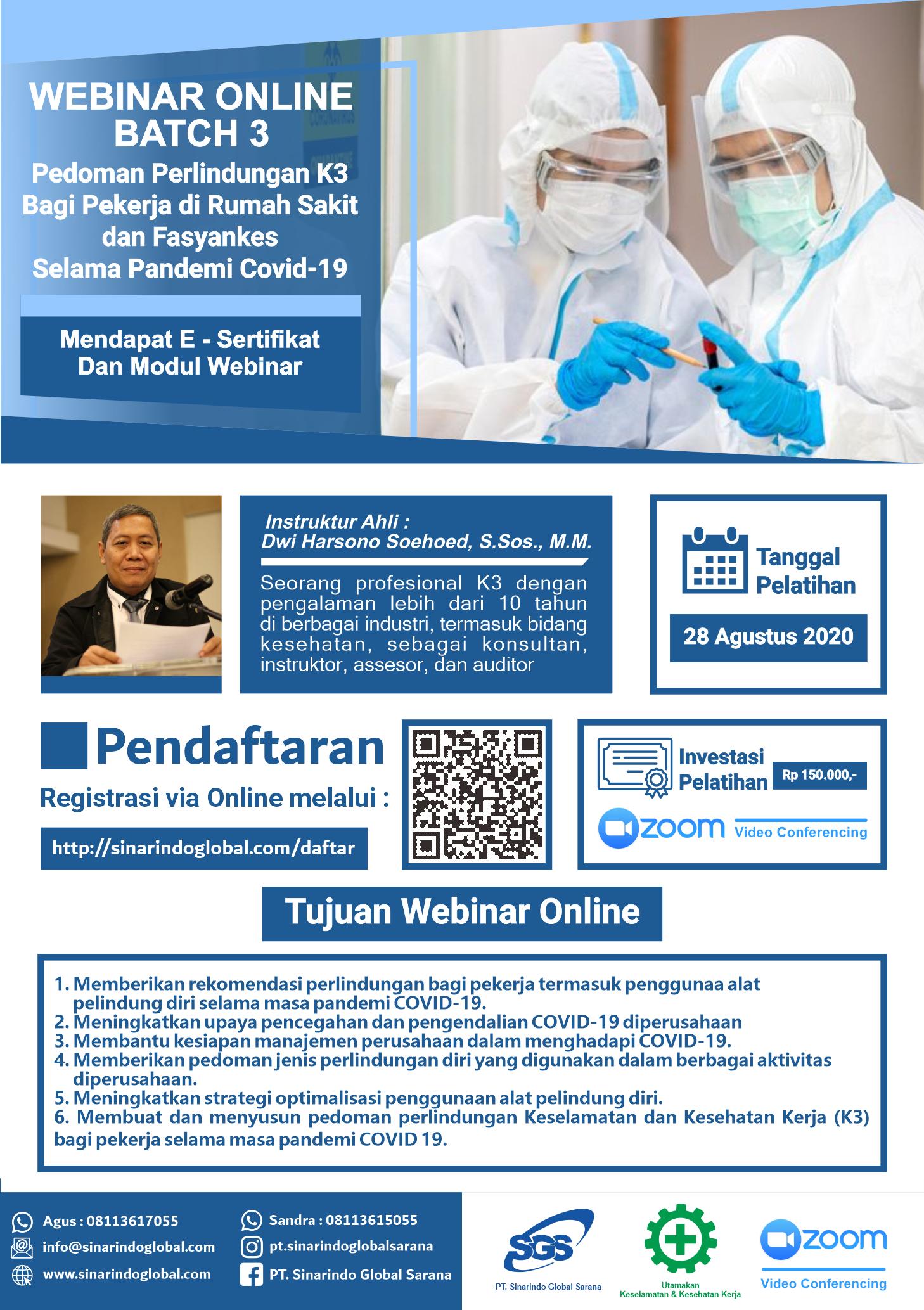 Pedoman Perlindungan K3 bagi Pekerja diRumah Sakit dan Fasyankes Selama Masa Pandemi COVID 19 - 28 Agustus 2020 ( BATCH - 2 )