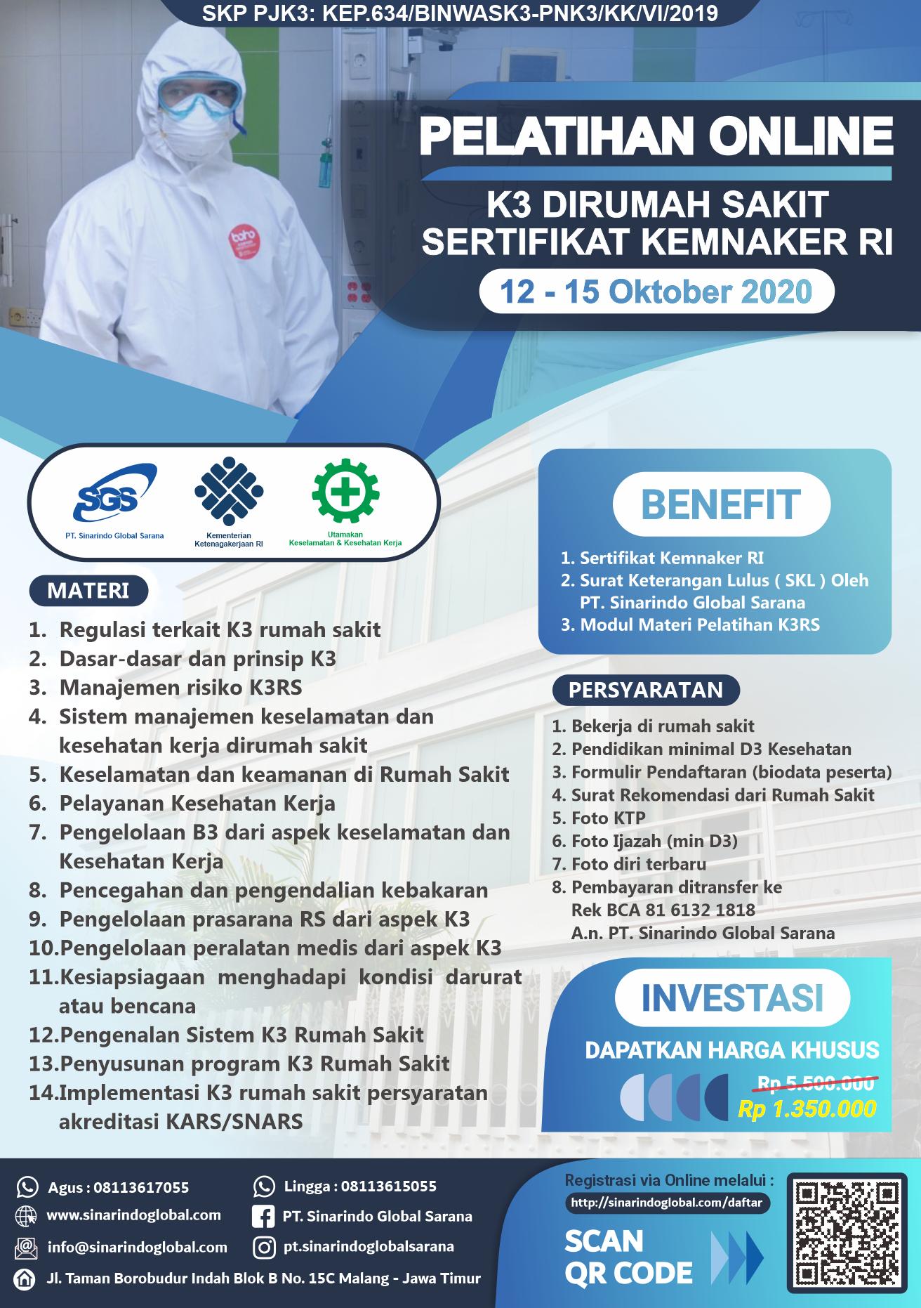 Pelatihan Online K3 di Rumah Sakit Sertifikat Kemnaker RI ( 12 - 15 Oktober 2020 )