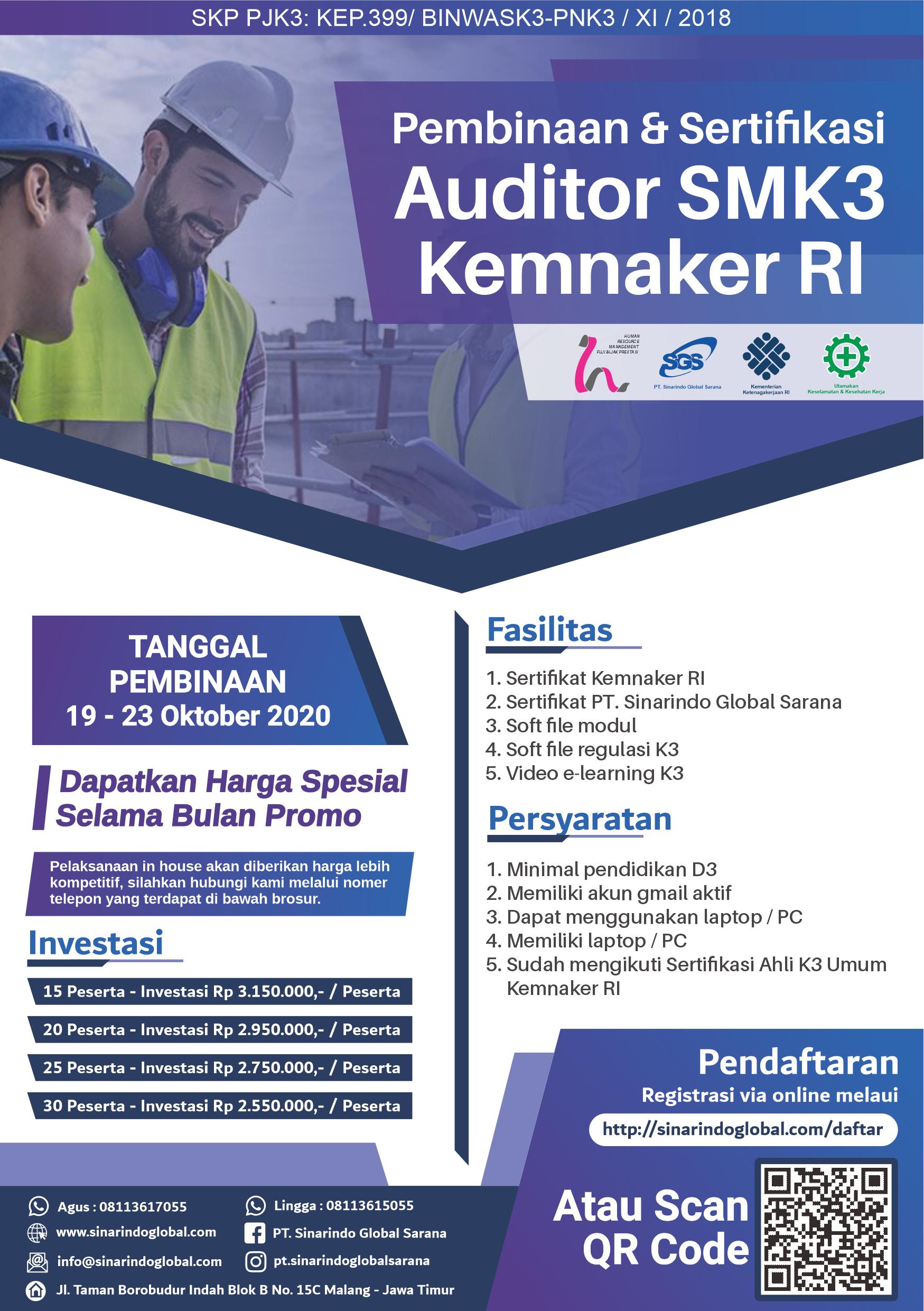 Pembinaan & Sertifikasi Auditor SMK3Sertifikat Kemnaker RI ( 21 - 27 Oktober2020 )