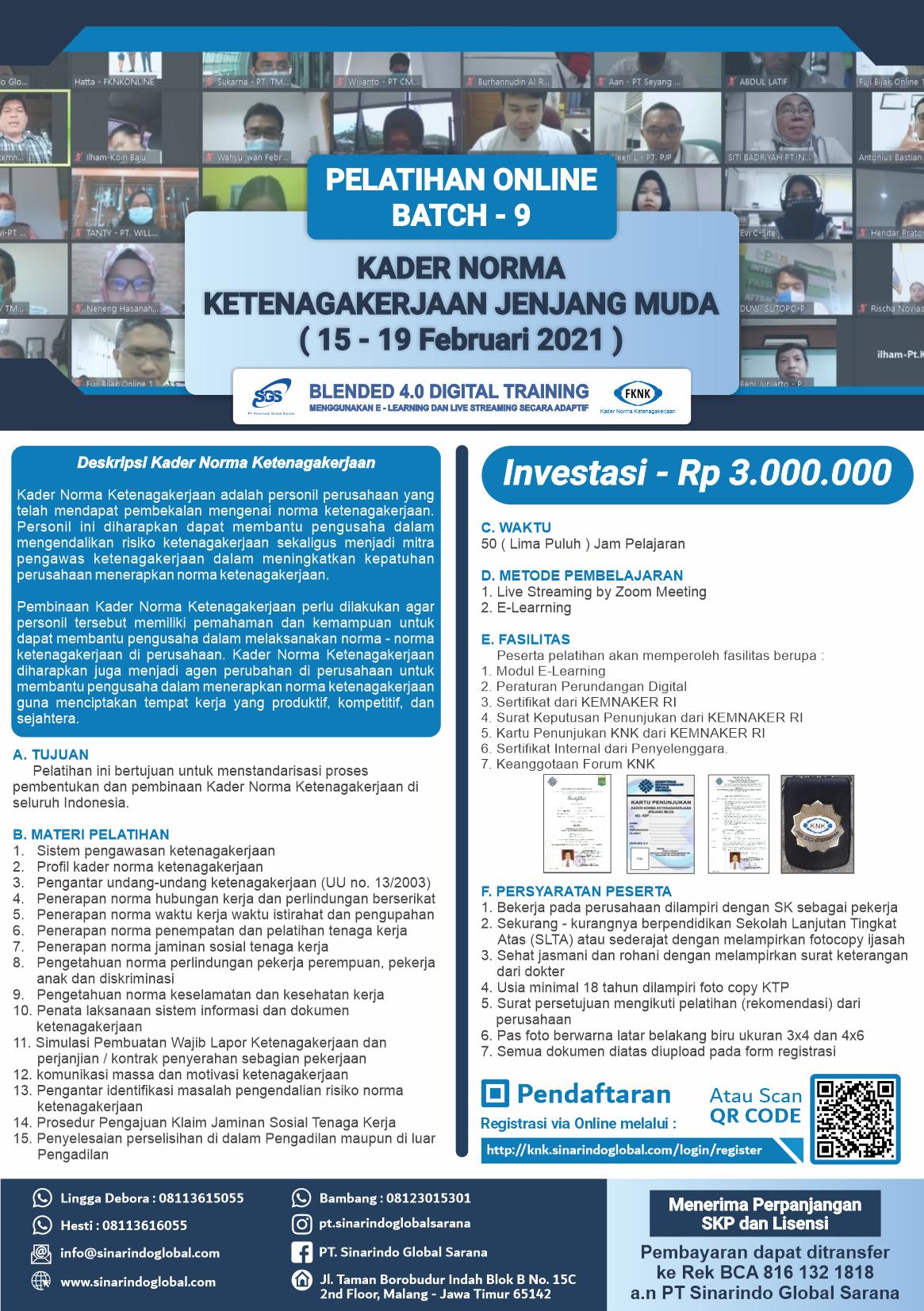 Pelatihan Online Kader Norma Ketenagakerjaan Jenjang Muda - Batch 9 ( 15 - 19 Februari 2021 )