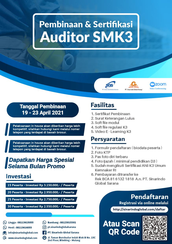Pembinaan & Sertifikasi Auditor SMK3 ( 19 - 23 April 2021 )