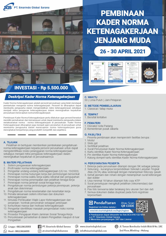 Pelatihan Online Kader Norma Ketenagakerjaan Jenjang Muda - Batch 11 ( 26 - 30 April 2021 )