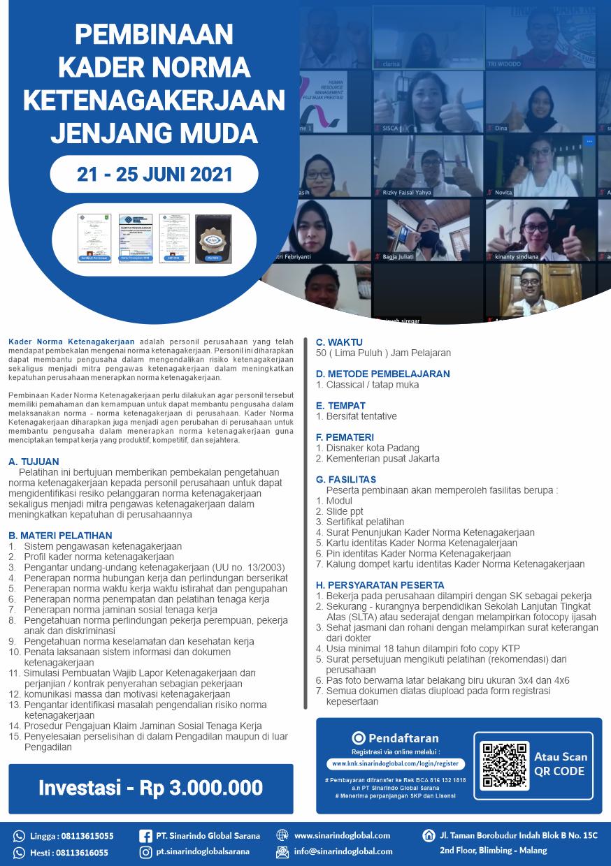 Pelatihan Online Kader Norma Ketenagakerjaan Jenjang Muda - Batch 12 ( 21 - 25 Juni 2021 )