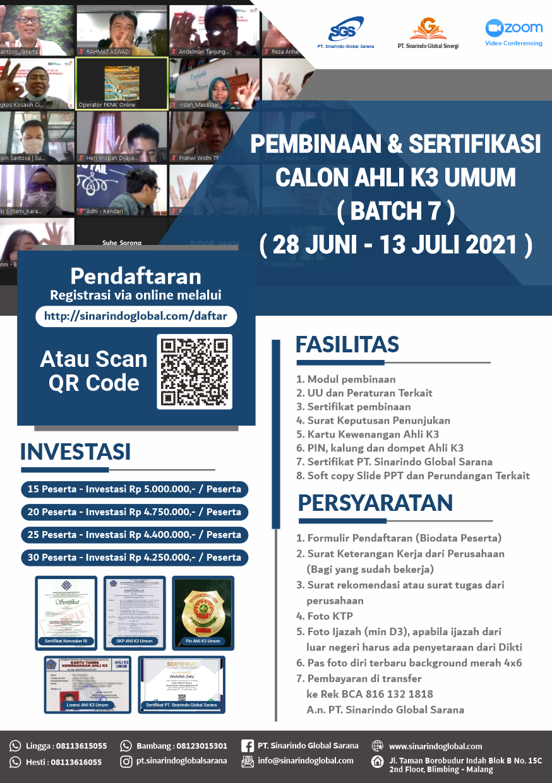 Pembinaan Online Calon Ahli K3 Umum - Batch 7 ( 28 Juni - 13 Juli 2021 )